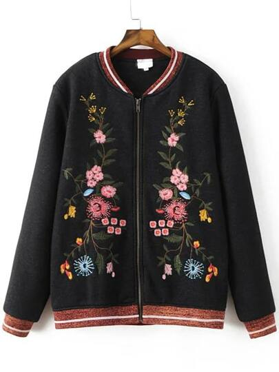 Black Embroidery Contrast Trim Zipper Jacket