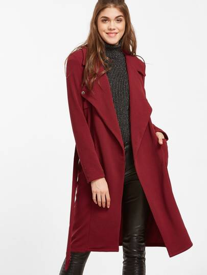 Burgundy Notch Collar Pocket Front Belted Coat