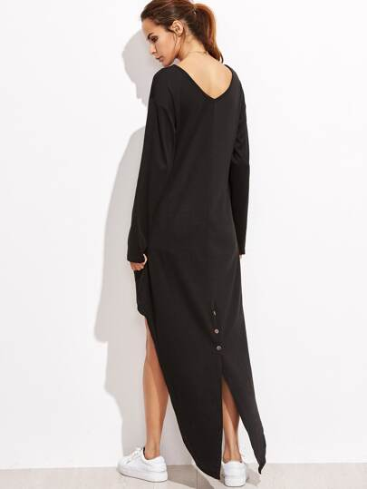 Black V Neck Dip Hem Slit Back T-shirt