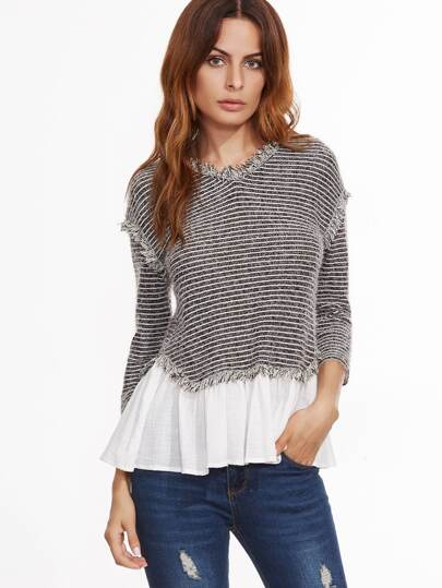 Black And White Striped Contrast Hem Fringe Sweater
