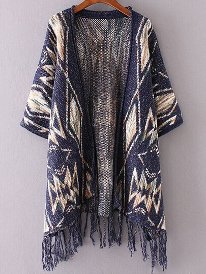 Navy Graphic Pattern Fringe Hem Poncho Sweater