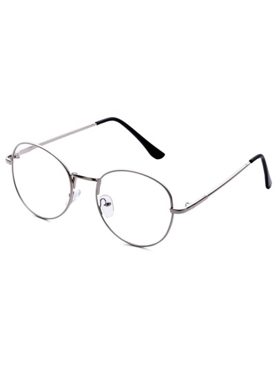 Antique Silver Frame Clear Lens Glasses