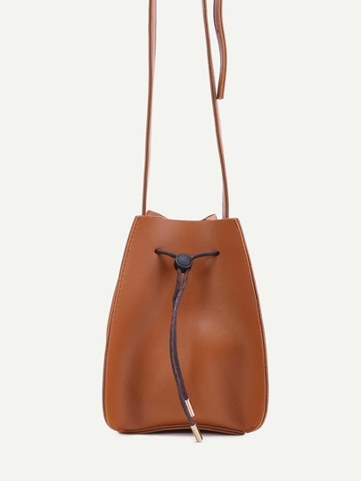 Yellow Faux Leather Drawstring Bucket Bag