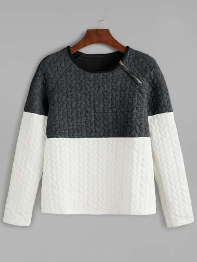 Color Block Cable Embossed Zip Trim Sweatshirt