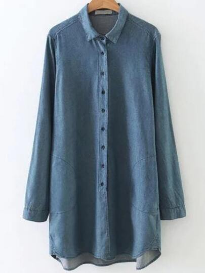Blue Button Up Dip Hem Denim Blouse