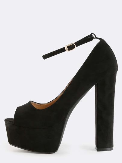 Peep Toe Platform Heels BLACK