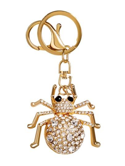 Gold Plated Spider Rhinestone Keychain