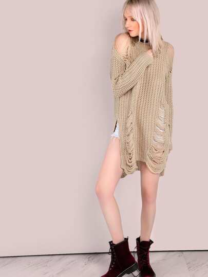 Heavily Frayed Knit Sweater Tunic TAUPE