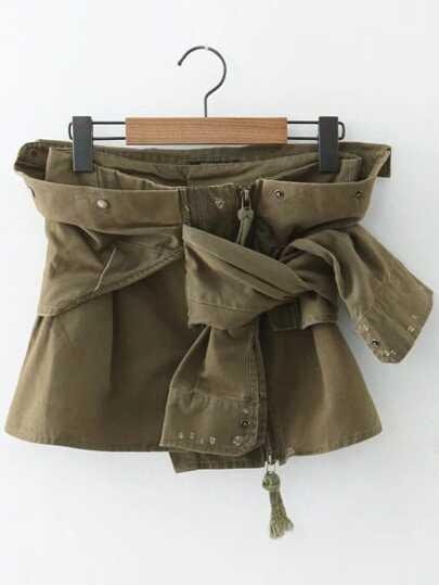 Army Green Zipper Up Tie Asymmetrical Skirt