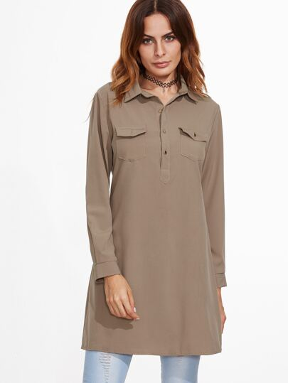Khaki Long Blouse With Pockets