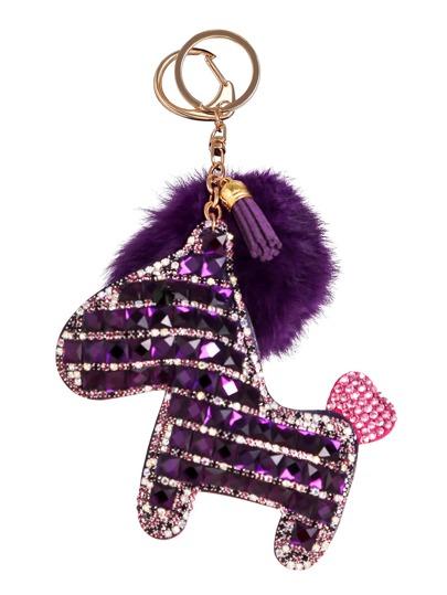 Llavero con caballo de cristal con pompón - violeta oscuro