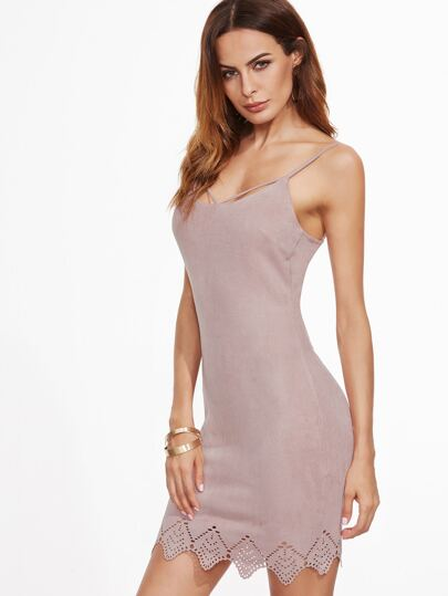 Pink Suede Crisscross Back Laser Cutout Cami Dress