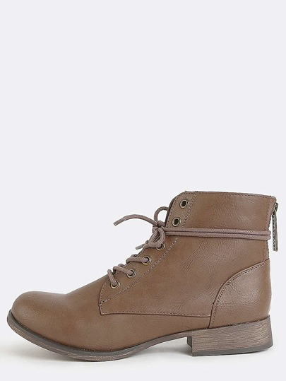 Almond Toe Lace Up Booties TAN