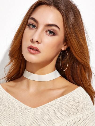 Beige Ribbon Basic Choker Necklace