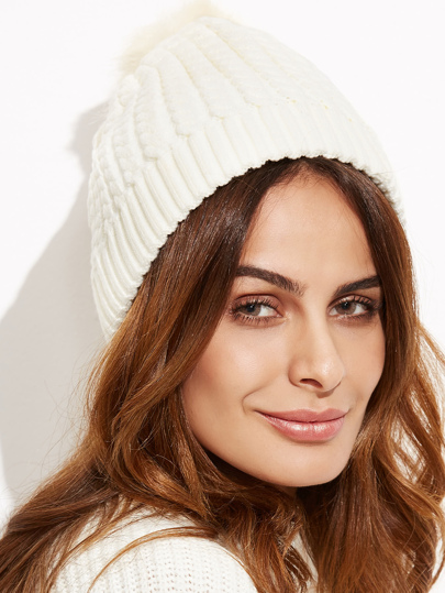 White Ribbed Pom Pom Knit Hat
