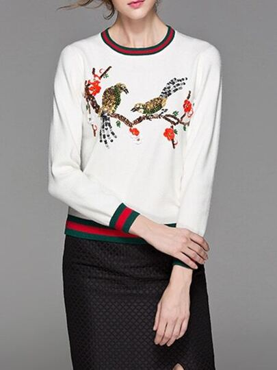 White Birds Sequined Striped Sweater