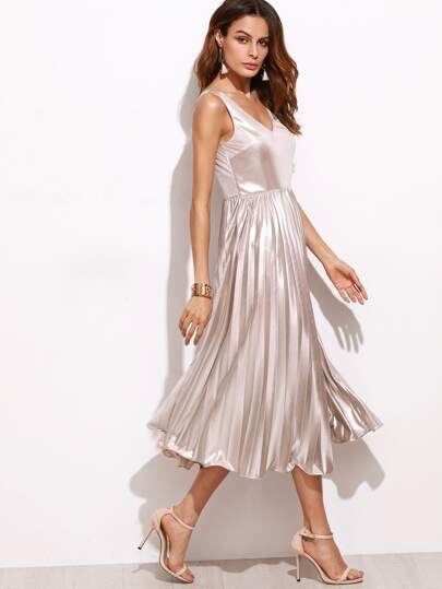 Metallic Pink Double V Neck Pleated Dress