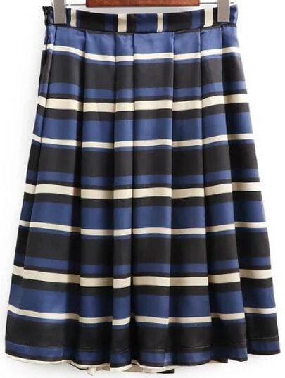 Multicolor Striped Pleated Midi Skirt