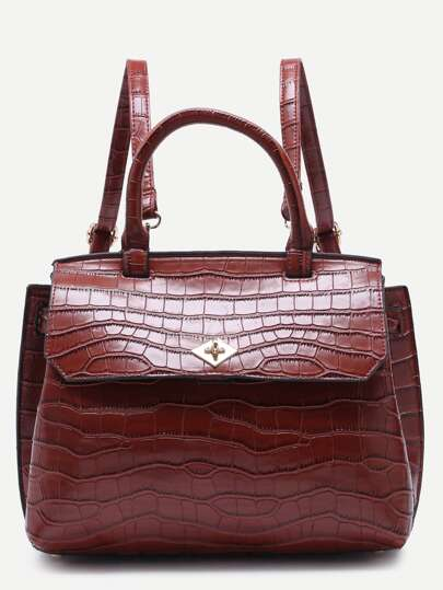 Brown Croc Embossed PU Flap Backpack With Handle