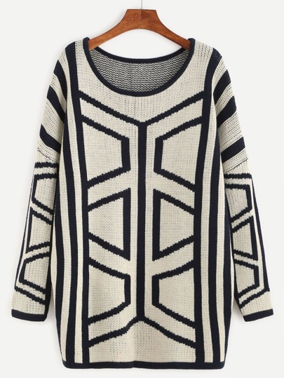White Geo Pattern Drop Shoulder Sweater