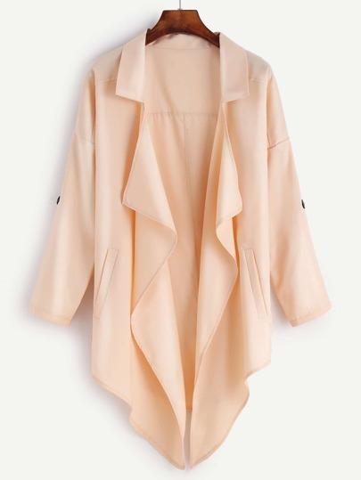Apricot Drop Shoulder Roll Tab Sleeve Coat