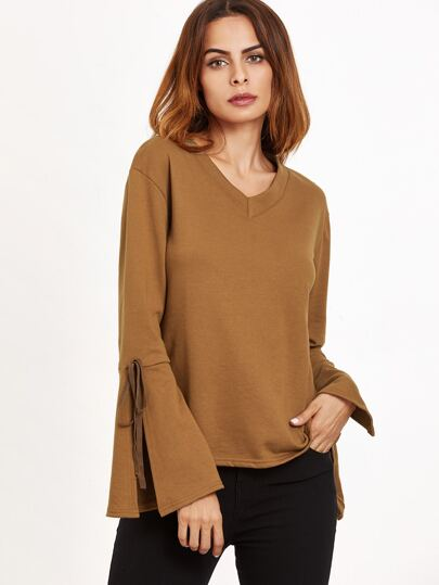 Khaki V Neck Slit Bell Sleeve Top With Tie