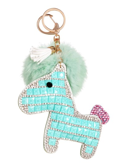Turquoise Crystal Pony Keychain With Pom Pom