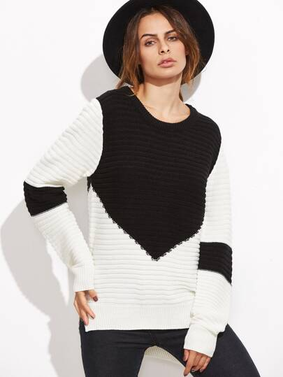 Contrast Ribbed Knit Slit High Low Sweater