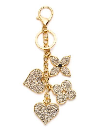 Gold Plated Rhinestone Flower Heart Keychain