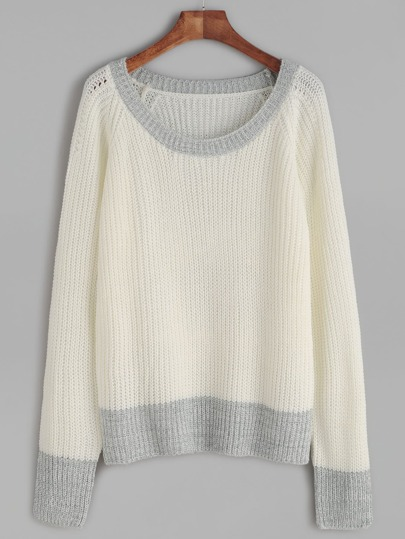 White Contrast Trim Waffle Knit Raglan Sleeve Sweater