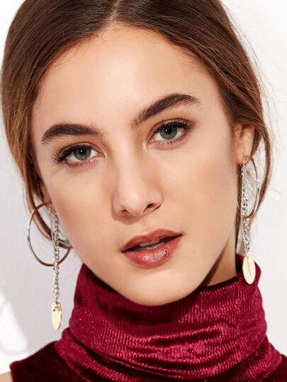 Silver Tone Circle Chain Drop Earrings