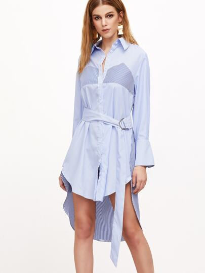 Blue Vertical Striped Self Tie High Low Shirt Dress