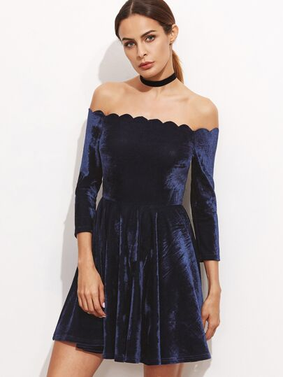 Navy Scallop Off The Shoulder Velvet Dress