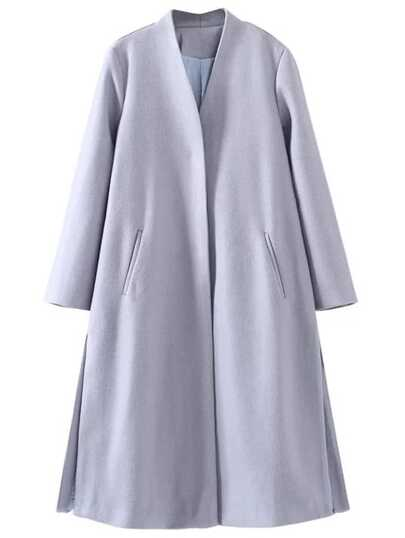 Grey Drawstring Waist Side Slit Long Coat
