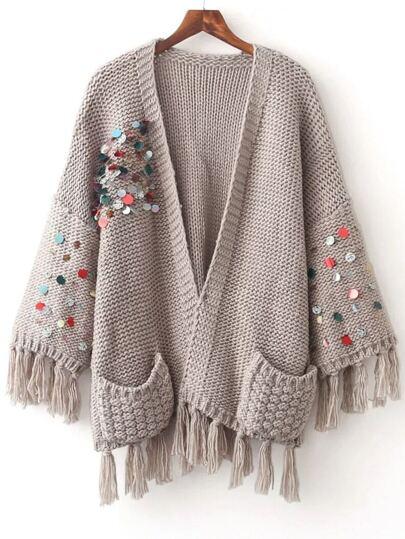 Light Grey Sequin Fringe Trim Sweater Coat With Pocket