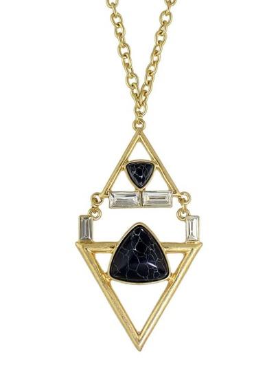 Imitation Turquoise Geometric Long Pendant Necklace