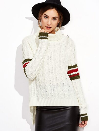 White Cable Knit Striped Sleeve High Low Sweater