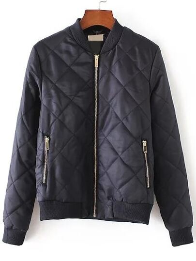 Navy Diamond Quilted Zipper Up Flight Jacket