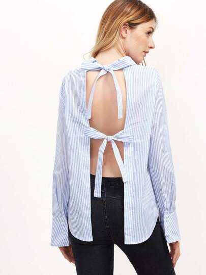 Blue Vertical Striped Bow Tie Open Back Blouse