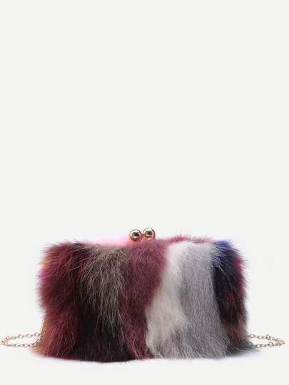 Sac avec chaîne en fourrure de renard avec zip - couleur de arc-en-ciel
