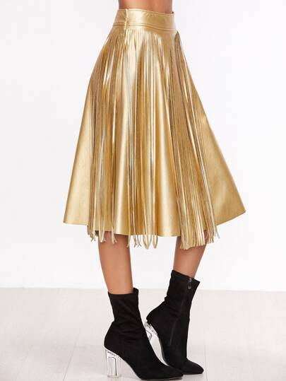 Gold Faux Leather Fringe Midi Skirt