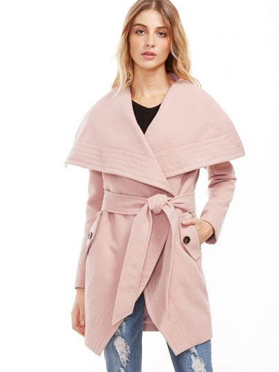 Pink Oversized Drape Collar Wrap Coat
