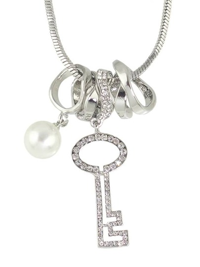 Silver Rhinestone Key Shape Long Pendant Necklace