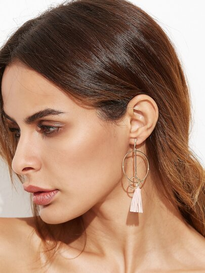 Gold Circle Hollow Out Tassel Drop Earrings