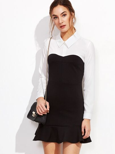 Color Block Ruffle Hem Shirt Dress