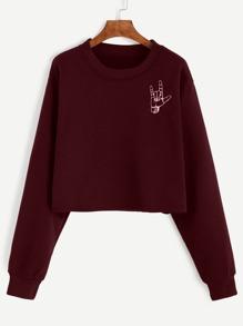 Love Gesture Print Dropped Shoulders Crop Sweatshirt
