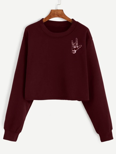 Sweat-shirt imprimé geste d'amour - bordeaux