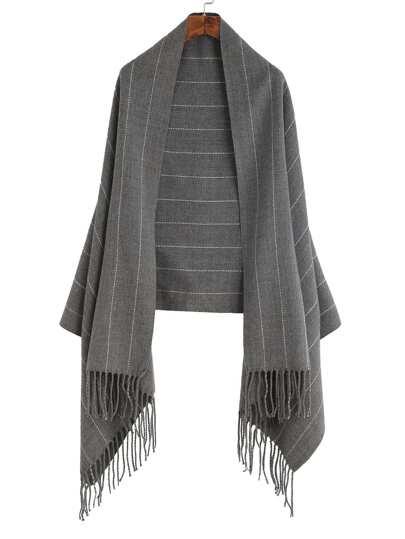 Серые олосатый шарф шалью с бахромой