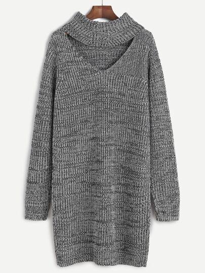 Grey Marled Knit Cutout Turtleneck Sweater Dress