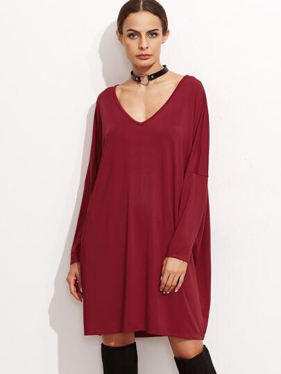 Burgundy V Neck Drop Shoulder Seam Shift Dress